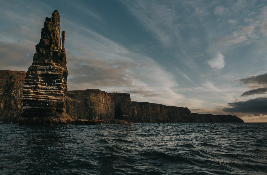the cliffs of moher at sunset